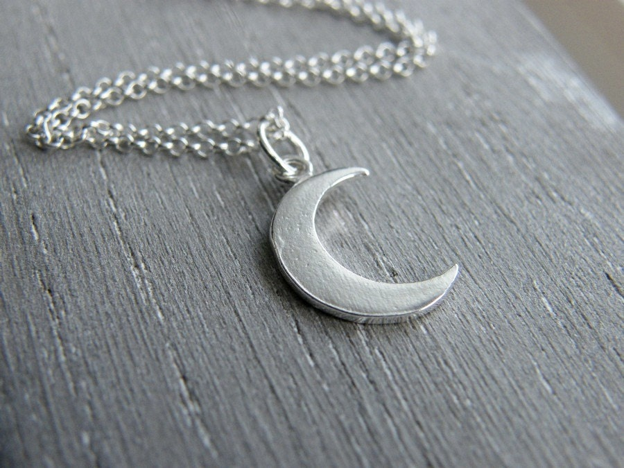 crescent moon necklace moon necklace sterling by jewelleryjkw
