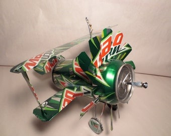 Airplane Whirl-A-Gig Made From Mountain Dew Cans
