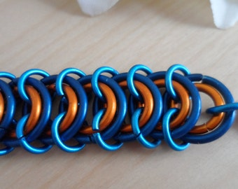 Blue and Orange Centipede Chainmaille Bracelet