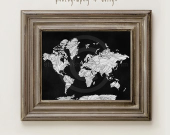 World Map Chalkboard Wall Art 8x10 Printable Image PR0071
