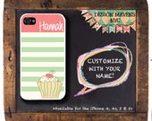 Personalized iPhone Case, Cupcake Stripe Monogram iPhone Case, iPhone 4, 4s, iPhone 5, iPhone 5s, iPhone 5c, iPhone 6,6 Plus, Phone Cover