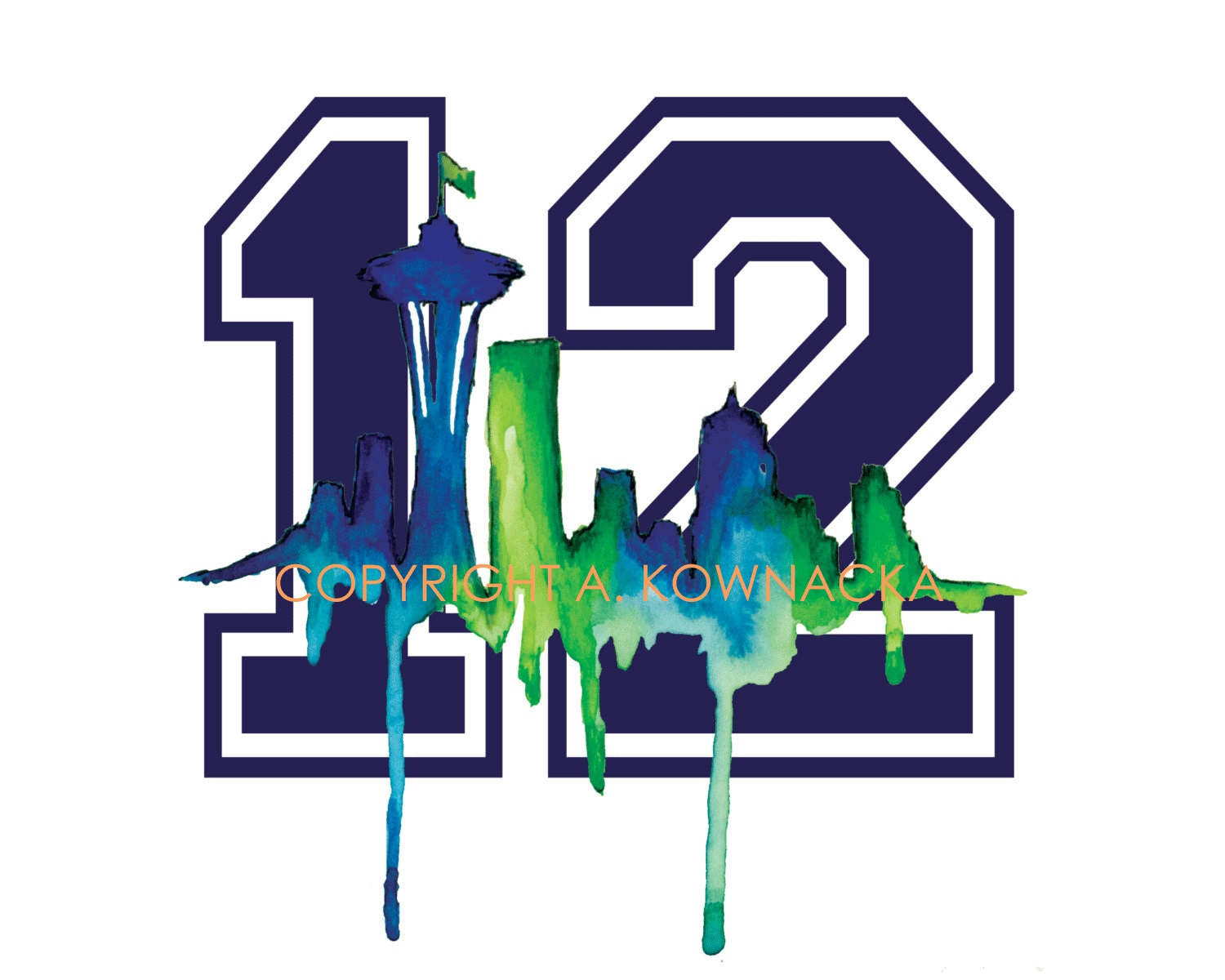 Seattle Skyline Seahawks 12th Man Illustration Watercolor