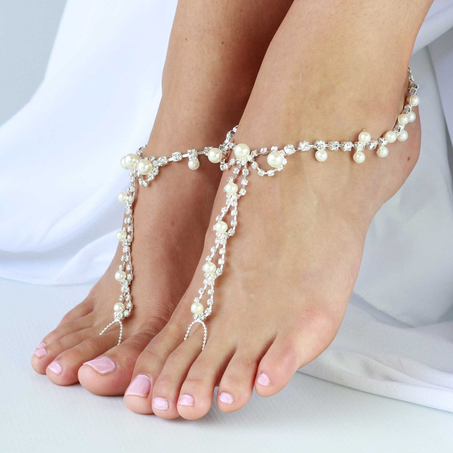 barefoot sandals with rhinestones and pearl by