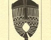 Congo Masks, c 1870. 2 of 6 African art prints / Primitive art prints / African carvings / Art prints / Art .-GPr1403