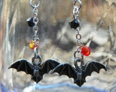 75% off - Bats with Dangling Crystal Earrings - Halloween - spring cleaning sale