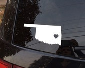 ANY state decal! Oklahoma state home/heart car decal!