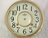 Vintage Clock Face, Large Enamel Clockface, Enamel Dial, Clock Parts