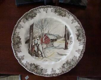 Friendly Village Johnson Bros Large Serving Plate / Chop Plate 10 7/8 in diameter