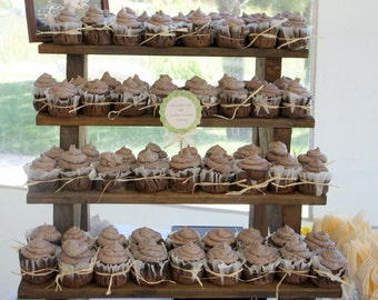 The Cupcake Stand - 4 Tiered Rustic Wooden Display Stand -  Weddings - Parties - Craft Fairs – Boutiques