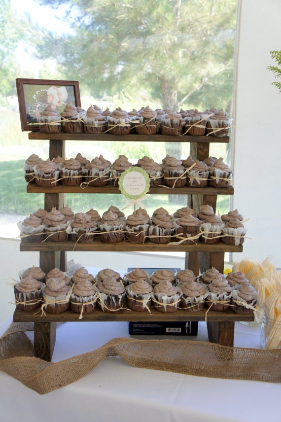 The cupcake stand 4 tiered rustic wooden display stand weddings