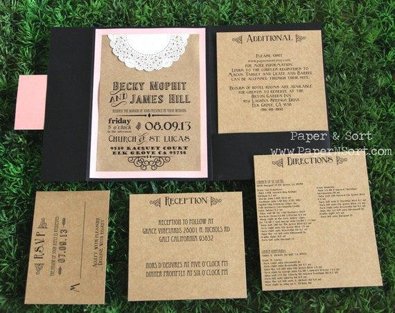 Inserts For Wedding Invitations: Items Similar To Rustic Wedding Invitation Pocket Fold Set