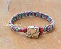 Elephant Bracelet, Elephant Jewelry, Multicolors Bracelets, Friendship bracelets, Colorful bracelets, Gift for Friends, Mom & Baby - Blue