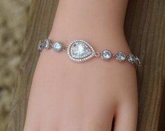 cz bridal jewelry , zirconia wedding bracelet , zirconia  bridal bracelet , bridesmaid bracelet