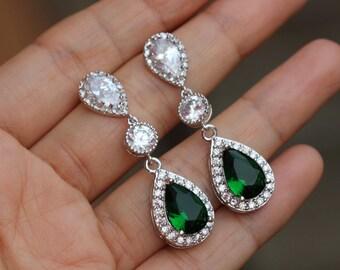 emerald green earring dangle wedding earrings  wedding jewelry , bridal jewelry , drop green earring