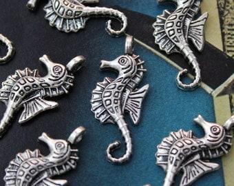 10 Seahorse Charms Seahorse Pendants Antiqued  Tibetan Silver Tone12 x 25 mm