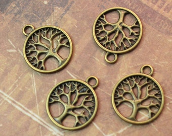 10 Tree Charms Tree Pendants Antiqued Bronze Tone Double Sided 20mm