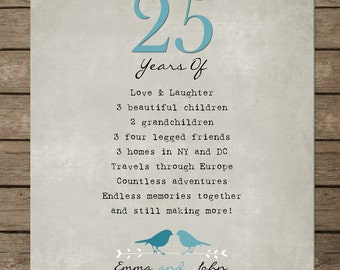 25th Silver Wedding Anniversary Gift for parents, Anniversary gift from kids, parents-inlaw, 8 x 10 poster print custom colors, fonts