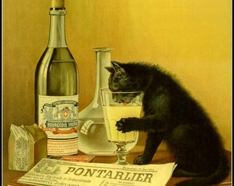 Art Print Absinthe Advert Black Cat French - 1902 - Print
