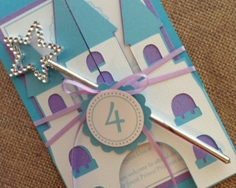 12x Deluxe Handmade Frozen Castle Invitations including ribbon and wand.