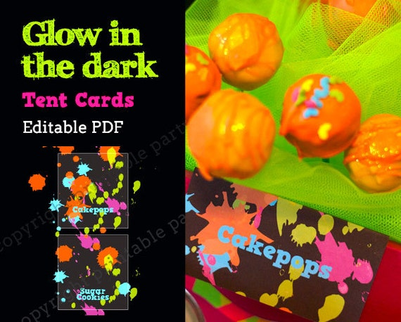 Glow In The Dark Party Neon Color Tent Cards Editable Pdf