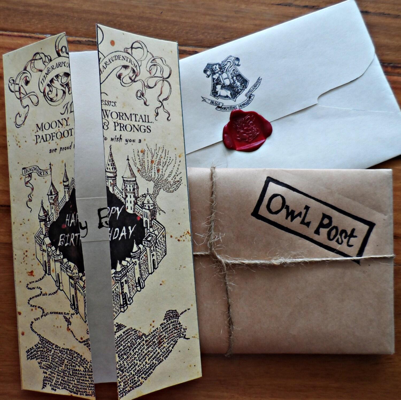 harry potter marauders map birthday card