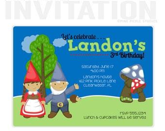 Gnome Party, Birthday Party Invitations, personalized thank you cards, birthday invitations, party invitations / No.162)