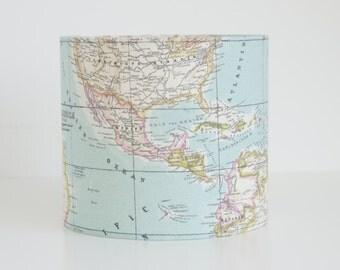 Lampshade in World Map print fabric, handmade drum lampshade