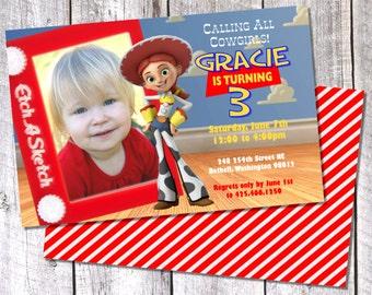 Jessie Toy Story Photo Birthday Invitation - 8.5x 5.5 Digital File