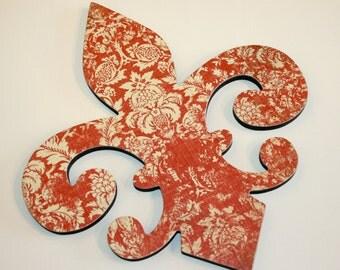 Fleur de lis wall decor , Red and cream wall decor, Fleur de lis wall art, Red Home Decor