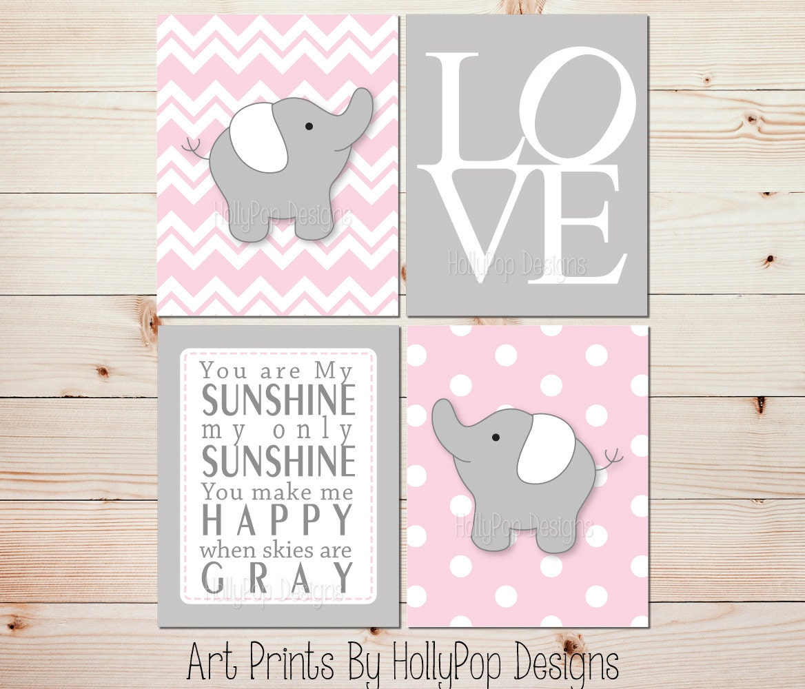 Pink gray nursery art elephant nursery prints pink nursery for Room decor wall art