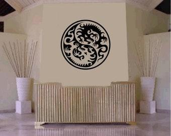 Tribal Yin Yang Dragon Decal Sticker Wall Decal Art Asian