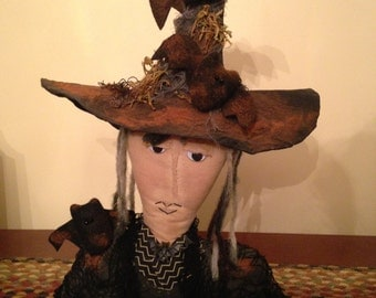 Primitive Halloween Witch Head Bust with Bats and Shawl, Handmade