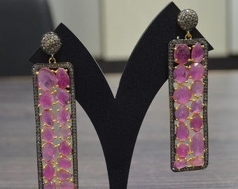 Exclusive Pink Sapphire Earrings with Diamond pave on 925 Silver