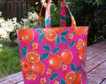 Oilcloth Tote Bag Pink with Oranges, Orange lining