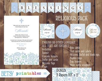 Religious celebration Pack, Baptism, Christening, First Communion, Confirmation DIY Editable - INSTANT DOWNLOAD 105