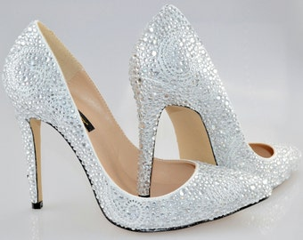 Swarovski Crystal Glitter Bridal High Heel Stiletto Corset Luxury White Leather Pump