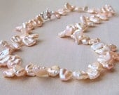 Keishi pearl necklace in nude soft pink, beautiful light colour! Sterling silver rose clasp, Me and Mummy Gift Jewellery UK