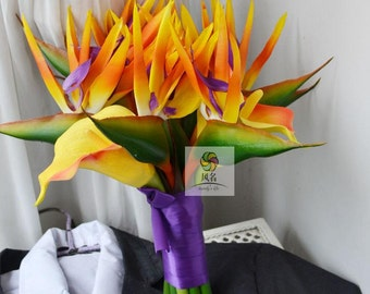 wedding boquet artificial flower birds of paradise