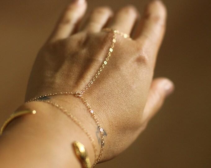 Gold Hand Chain Bracelet - Gold Slave Bracelet - 14K Gold Fill