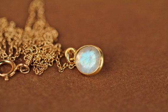 Moonstone necklace - gold moonstone - june birthstone - tiny moonstone - a 22k gold bezel set faceted moonstone on a 14k gold vermeil chain
