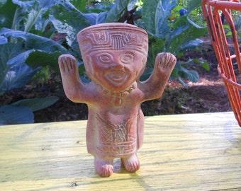 Aztec God Mexican clay figurine 1980 vintage Mexico souvenir Hecho En Mexico  FREE USA SHIPPING
