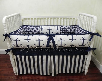 custom nautical baby bedding set harbor boy baby bedding navy anchors ...