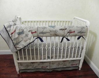 Baby Boy Bedding Set Evan - Airplane Crib Bedding, Bumperless Crib Bedding, Crib Rail Cover, Custom Baby Bedding