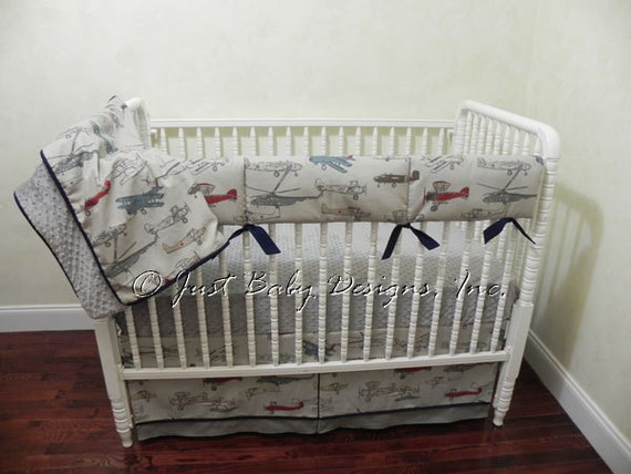 Baby boy bedding set evan airplane crib bedding bumperless - Airplane baby bedding sets ...