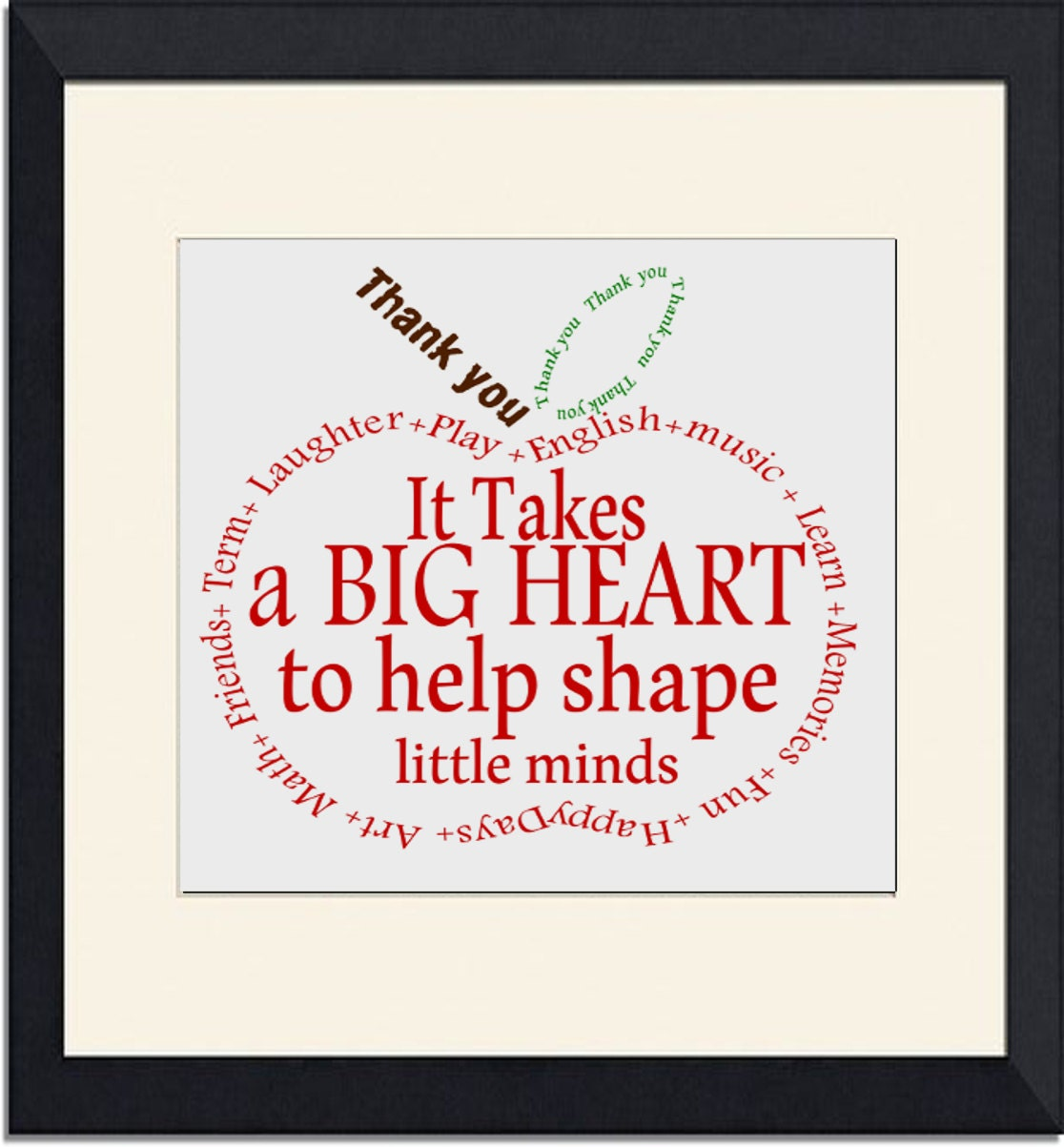 Teacher Gift Appreciation Apple Thank you wordart Instant