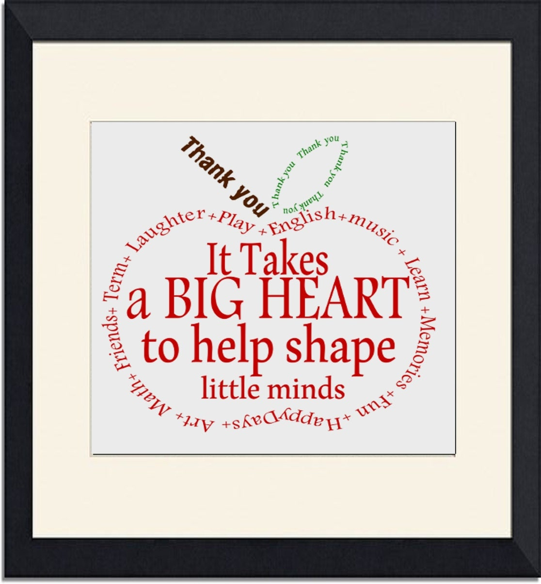 Teacher Gift Appreciation Apple Thank you word by TheArtyApples