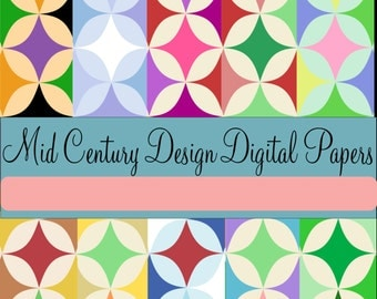 Mid-Century Diamonds Digital Design Papers PNG 10 Color Schemes - Instant Download