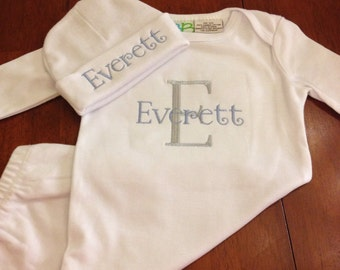 Little boy infant gown and matching hat
