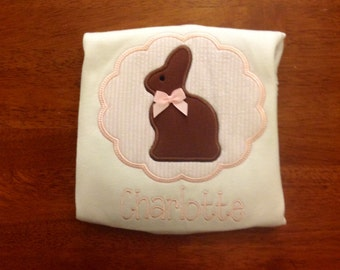 Chocolate Bunny Easter Applique Shirt