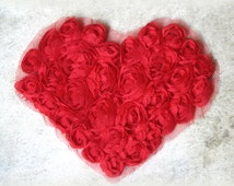 Red Chiffon Rosette Heart Applique for Sewing, Crafting, Altered Art etc AP-018